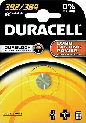 Duracell Silver Oxide 392 Watch Battery - Pack of 1 | 384 AG3 LR41 SR41W