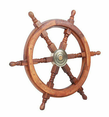 "Teak Ship's Steering Wheel 24"" Nautical Pirate Wall Decor Solid Brass Hub New"