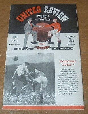 Manchester United (Champions) v Derby Co., 1951/52- Division One Match Programme