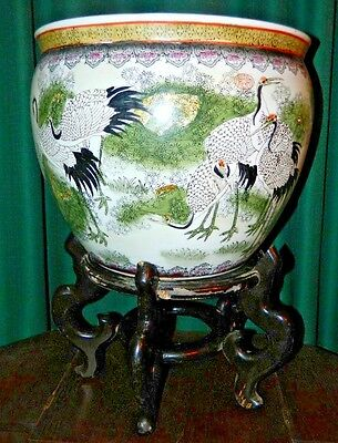 Vtg Large 70's Chinese Fish Bowl Jardiniere Planter Hand Painted Cranes W/Stand