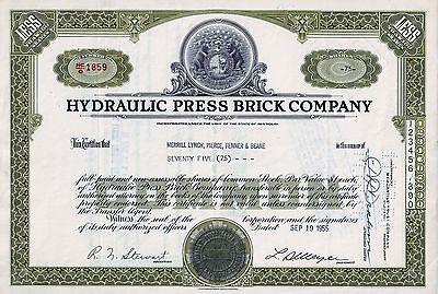 Hydraulic Press Brick Company, Missouri, 1955 (75 Shares) Bären-Vignette