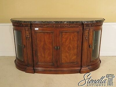 40903E: HENREDON Marble Top Sideboard w. Curio Sides