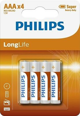 Philips Longlife Zinc AAA Battery - Pack of 4   LR3 MX2400 R3