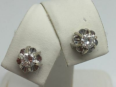 14K White Gold .40Ct Diamond Solitaire Stud Earrings