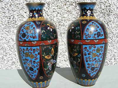 Antique Pair Of Japanese Cloisonne Vases Meji Period