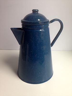 Blue Speckled Enamel Graniteware Coffee/Tea Pot Kettle 2.6lt