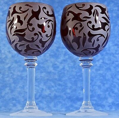 """2 Ruby Red & Clear Frosted Etch Crystal 8"""" Water/ Wine Goblets- Artist Signed"""