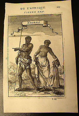"17th Century Engraving ""Negres"" from De L'Afrique"