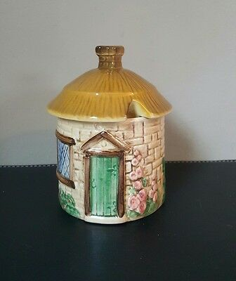 Vintage Sylvac Thatched Cottage Ware Jam/Marmalade Pot and Lid