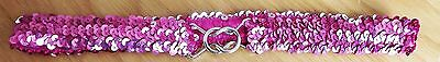 Girls Bright Pink Sequin Stretchy Belt
