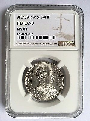 Thailand BE2459(1916) Silver Coin 1 Baht NGC MS63