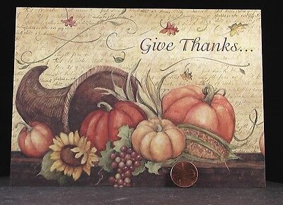 Thanksgiving Cornicopia Pumpkins Leaves  *SUSAN WINGET Greeting Card - UNUSED