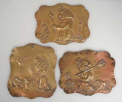 3 Vintage / Antique Hand Wrought Brass Wall Hangings Plaques