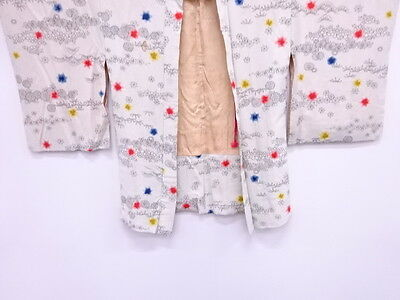 Vintage Japanese Kimono / Antique Haori / Shibori / Flower / Fun Pattern Fabric