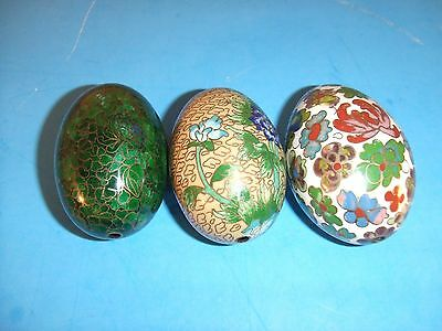 """3 Vintage Multi Colored Ceramic Hand Made Easter Eggs  3"""""""