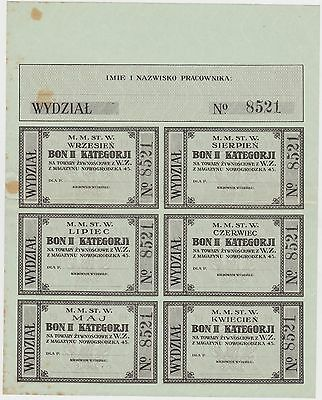 1918 Wwi Poland Warszawa Warsaw Occupation Food Stamps Ration Coupon Rare