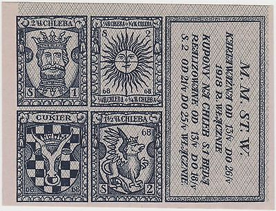1918 Wwi Poland Warszawa Warsaw Occupation Food Stamps Bread Chleb Coupon Rare