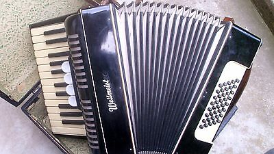 Vintage Good German Piano Accordion Weltmeister 40 Bass  4 Registers  With  Case