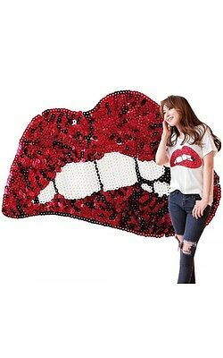 Hot Large Sequins Red Lips Embroidered On Patches Motif Clothes Sewing Applique