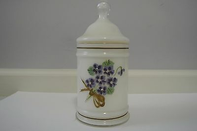 Vintage White & Purple Floral Hand Painted Glass Canister Pickle Jar w/ Lid
