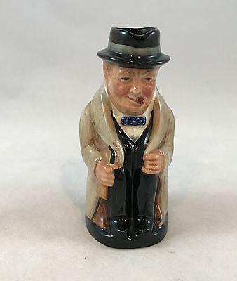 "Vintage Royal Doulton Small Toby Jug Mug Seated Winston Churchill  4"" Tall"