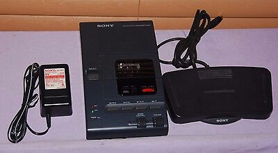 Sony M-2000 Microcassette Dictator Transcriber Recorder Pedal& Adaptor-Excellent