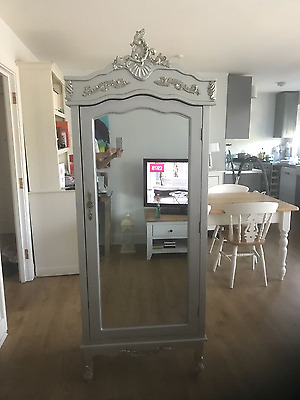 Repro French Chateau Single Mirrored Armoire Shabby Chic Wardrobe silver, Louis