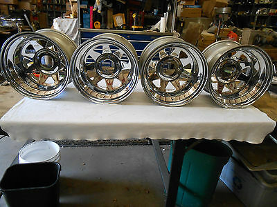 "15"" X 10 "" Vintage Nos Keystone  Chrome Wagon Wheel / Rim   Set Of Four"