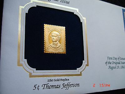Wow! 22KT Gold Stamp Dec. of Independence President Thomas Jefferson 1861 5C FDC