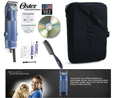 OSTER Turbo A5 2 Speed Clipper&10,10 WIDE Blade KIT-Case,DVD-Dog,Horse Grooming