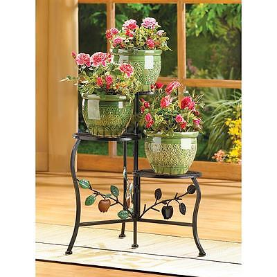 "Country Apple Plant Stand - 19 3/4"" High - Wrought Iron - Black"