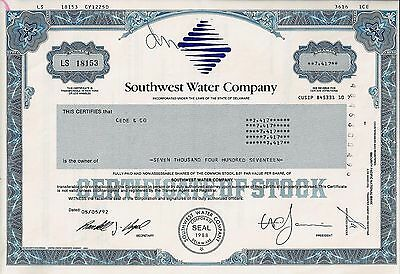 Southwest Water Company, Delaware, 1992 (7.417 Shares) !!
