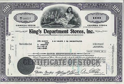 King´s Department Stores Inc., Delaware, 1972 (100 Shares)