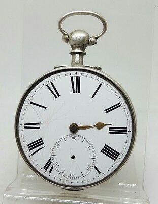 Antique solid silver pair cased fusee London pocket watch 1855