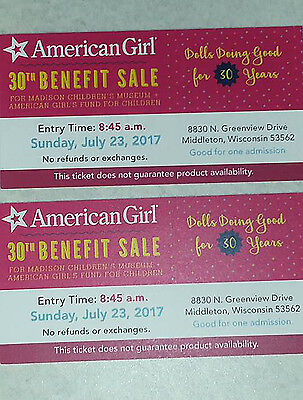 American Girl MCM Benefit Sale Madison Sunday 7/23 8:45 AM (2 TICKETS)