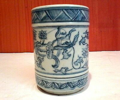 Antique Chinese Hand Painted Blue & White Porcelain Dragon & Phoenix Brush Pot