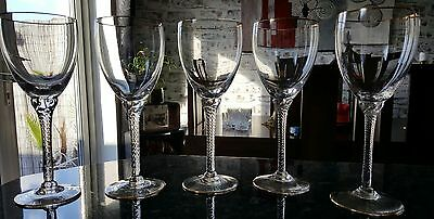 5 Hand Blown Crystal Wine Glasses With  Twisted Stem And Gold Rim. 832