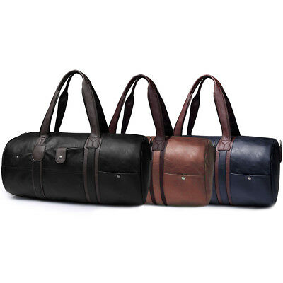 Men's  Leather Duffle Tote Bag Travel Gym Handbag Carry On Luggage Shoulder Bag