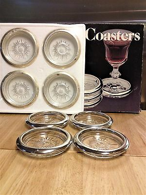 8 Vintage Italian Made Silver Plated and Glass Coasters by Leonard