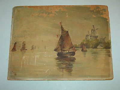 Rare 1917 Original Painting, Sailboats In Harbour ~Signed~Look