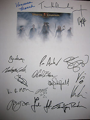 Pirates of the Caribbean 3 Signed Script X17 Johnny Depp Keira Knightley reprint