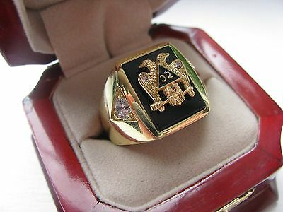 "NEW! Gents Masonic ""32 Degree Double Eagle"" CREST Ring *"
