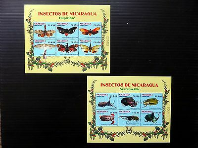 NICARAGUA 2003 Butterflies & Insects M/Sheets Pair MS4061 U/M NB1053