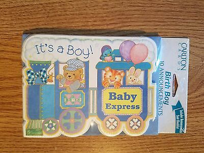 Carlton Cards 30 Birth Boy Announcements! Blue train w/ bear, tiger, bunny, bird
