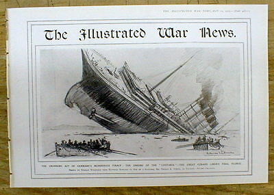 Rare May 1915 WW I  Illustrated War News magazine Sinking of The LUSITANIA wPics