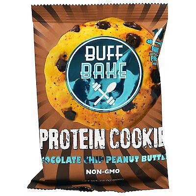 New Buff Bake Chocolate Chip Peanut Butter Protein Cookie All Natural Free Ship