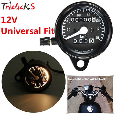 Motorcycle Black Odometer Speedometer Gauge For Chopper Bobber Cruiser Touring