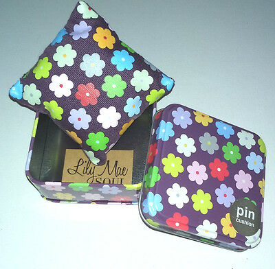PIN CUSHION IN TIN Grape Flowers SQUARE PILLOW INSIDE Soul Gift Range SEWING BOX