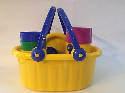 1992 Discovery Toys Picnic Set, Multi Color Plates Utensils Cups and Thermos