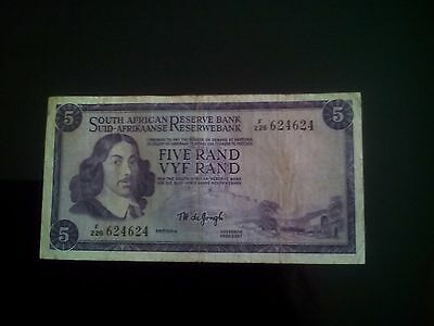 Five rand bill South Africa note bank F226 624624